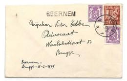 N°422(2)-762 Obl. Sc BRUGGE 1 Sur Lettre Du 18-2-1949 + Griffe BEERNEM Vers Brugge . - W1210 - Linear Postmarks