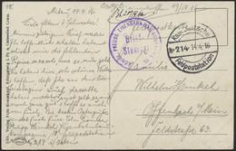 LETTLAND 2123 BRIEF, KAIS. DEUTSCHE FELDPOSTSTATION NR. 214, 14.4.16, Auf Ansichtskarte (Kowno) Von Mitau Nach Offenbach - Lettland
