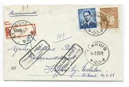 N°847-926 Obl. Sc ST-KRUIS Sur Lettre Recommandée Du 14-3-1956 Vers Heppen (Mechelen) + Griffes RETOUR A L'ENVOYEUR Et C - 1936-1951 Poortman