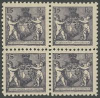 LIECHTENSTEIN 52A  VB **, 1921, 15 Rp. Schwarzgrauviolett, Gezähnt L 91/2, Im Viererblock, Postfrisch, Pracht, Mi. 240.- - Ohne Zuordnung