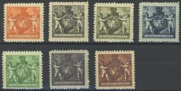 LIECHTENSTEIN 46-52B *, 1921, 21/2 - 10 Rp. Wappen, Gezähnt L 121/2, Falzrest, Prachtsatz (7 Werte) - Ohne Zuordnung