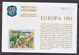 Andorre Viguerie épiscopale  Europa 1981 Neuf ** MNH Sin Charmela - Episcopale Vignetten