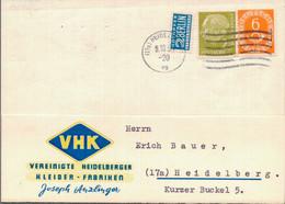 1954 Heidelberg, Seltene Frankatur Auf Ortspostkarte - Non Classés