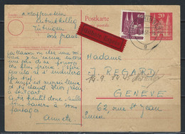 LZ-/-090-. ENTIER OBL. TARIF EXPRES Via GENEVE,  VOIR IMAGES POUR DETAILS, IMAGE DU VERSO SUR DEMANDE, - American/British Zone