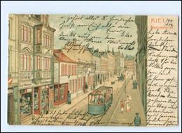 XX10540/ Kiel Brunswiekerstr. Straßenbahn 1902 Litho AK - Kiel