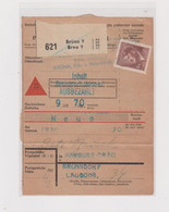 GERMANY WW II CZECH REPUBLIC BRNO BRUNN  Parcel Card - Occupation 1938-45