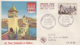Enveloppe  FDC  1er  Jour   FRANCE     Le  Pont  Valentré    CAHORS   1955 - 1950-1959
