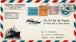 CTN70 - ETATS UNIS  EP AVION RESUMPTION OF CATAPULT AIR MAIL SERVICE VIA SS ILE DE FRANCE 20/8/1929 - 1c. 1918-1940 Lettres