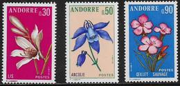 ANDORRA FRANCESA 1973 - FLORES - YVERT Nº 229/231** - Ongebruikt
