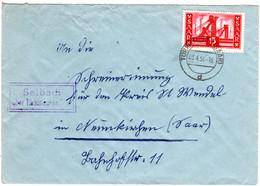 Saarland 1956, Landpost Stpl. SELBACH über Türkismühle Auf Brief M. 15 F. - Sin Clasificación