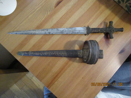 ANCIENNE EPEE POIGNARD DE BRAS TELEK LAME 32 CM - Armes Blanches