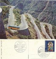 """AK  """"Postauto In Den Serpentinen Zum Val D'Anniviers""""  (50 Jahre Simplon Alpenpost)           1969 - Storia Postale"""