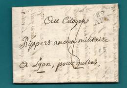 Vaucluse - Apt Pour Lyon. MP 89/APT. 1798 - 1701-1800: Precursori XVIII