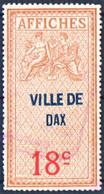 DAX Landes 18c Taxe D'affichage Émission De 1927 FISCAL FISCAUX AFFICHES REVENUE - Revenue Stamps