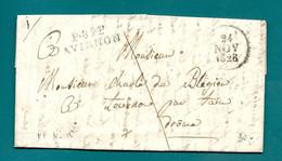 Vaucluse - Avignon Pour Tournon Par Tain. LAC En Port Payé De 1828 - 1801-1848: Precursori XIX
