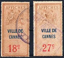 CANNES Alpes-Maritimes 18c Et 27c Taxe D'affichage Émission De 1927 FISCAL FISCAUX AFFICHES REVENUE - Revenue Stamps
