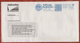 Brief, FRANKIT Pitney Bowes, Achtung Radfahrer Licht An, 58 C, Aachen 2013 (4953) - Affrancature Meccaniche Rosse (EMA)