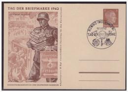 WK II Ukraine (004984) Propaganda Ganzsache Tag Der Briefmarke, P4/ 02 Deutsche Feldpost, Blanco Gest Rowno Am 11.1.1942 - Interi Postali