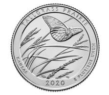 USA 25 Cents (quarter) 2020 D UNC 55th Park - Tallgrass National Wildlife Refuge Prairie - Butterfly - 2010-...: National Parks