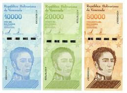 Venezuela Set Of 3 Banknotes 2019 UNC 10000, 20000, 50000 Bolivar - Venezuela