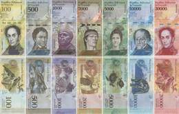 Venezuela Set Of 7 Banknotes 2016-2017 UNC - Venezuela