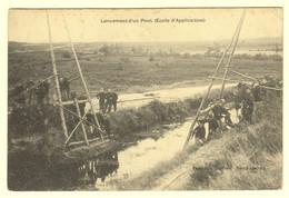 A0798[Postkaart] Lancement D'un Pont (Ecole D'Application) (Alex Gotthold, Bourg-Léopold) [Leopoldsburg 1911 Brug - Casernes
