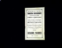 """Catalogue, Palmarès """" Exposition D'aviculture """" , 1933 à Grenoble - Advertising"""