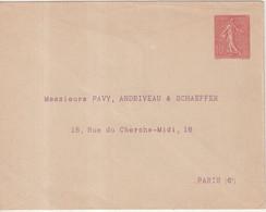 "FRANCE : ENTIER POSTAL . 10 Cts . TYPE SEMEUSE LIGNEE . ENV P TSC . "" PAVY , ANDRIVEAU ET SCHAEFFER "" . 1906 . TB . - Standard- Und TSC-Briefe (vor 1995)"