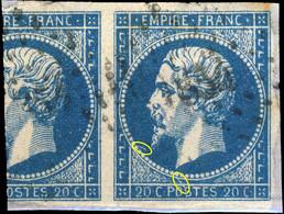 France - Yv.14A 20c Bleu Type I Variété Non Planché - Oblitéré B/TB Sur Fragment Avec Voisin - 1853-1860 Napoléon III