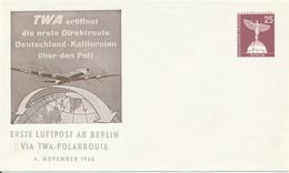 BERLIN  -  25 Pf. Stadtbilder  Lilienthal Denkmal  -  Luftpost Berlin Via TWA Polroute   -  Privatumschlag   PU19 / 15b - Privatumschläge - Ungebraucht