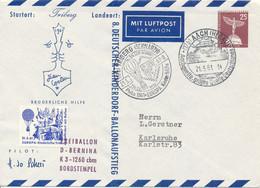 AACH  -  1961 ,  25 Pf. Stadtbilder  Lilienthal Denkmal  -  Freiballon  D - BERNINA  -  Privatumschlag   PU19 / 20b - Privatumschläge - Gebraucht