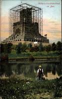 CPA Leipzig In Sachsen, Völkerschlachtdenkmal Im Bau, Panorama, Bauer Trägt Wassereimer Vom See - Other