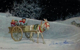 Illustrée  Signée COLOMBO : Enfants , Charrette, âne,neige - Colombo, E.