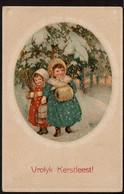 Carte Illustrée - Vrolyk Kerstfeest ! - Médaillon - Fillettes Dans La Neige  - Style Pauli Ebner - Voir Scans - 1900-1949