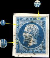 France - Yv.14A 20c Bleu T. I Planché 038G2 - Oblitéré TB Sur Petit Fragment - 1853-1860 Napoleon III