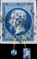 France - Yv.14A 20c Bleu T. I Variétés (voir Scan) Non Planché - Oblitéré TB Sur Petit Fragment - 1853-1860 Napoléon III