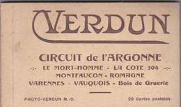 Carnet De 20 Cartes Postales :Circuit De L'Argonne.Le Mort-Homme,la Côte 304,Montfaucon,Romagne,Varennes,Vauquois, - Autres Communes