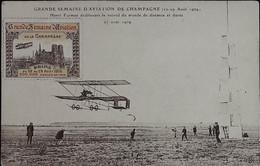 REIMS -- Grde Semaine D' Aviation De  Champagne -H. Farman établissant Le Record Du Monde De Distance Et Durée + VIGNETT - Reims