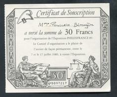 """Bon De 30 Francs Représentant Un Assignat """"Certificat De Souscription à L'Exposition PhilexFrance 89"""" - Bons & Nécessité"""