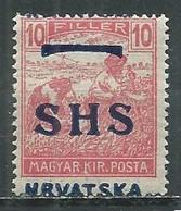 Yougoslavie Royaume Des Serbes, Croates & Slovènes YT N°12 Moissonneurs Surchargé SHS Hrvatska Neuf ** - Nuovi
