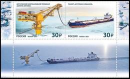 RUSSIA 2021 Stamp MNH VF ** Mi 3017-18 ARCTIC POLAR NORD SHIP TANKER ALBANOV OIL PETROLE PETROLEUM ARCTIQUE SKF 2793-94 - Nuovi