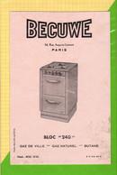 BUVARD & Blotting Paper :  Bloc 240 BECUWE  Gaz De Ville Butane - Electricity & Gas