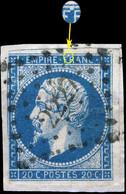 France - Yv.14A 20c Bleu T.I Planché 093G3 - Obl. Pc 2227 (NARBONNE) - Court à Gauche Sur Fragment - 1853-1860 Napoleon III