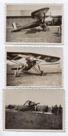 389, Aviation Avion Biplan Crash Accident, 3 Photos Format 9,1 X 6,4cm, état TB - Aviation
