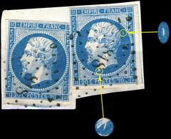 France - 2x Yv.14A 20c Bleu T.I Dt. Planché 125G1 Obl.PC 818 (LA CHÂTRE) (l'autre Prob. 124G1 Qui Est Un Zéro) - 1853-1860 Napoleon III