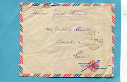 Marcophilie-REUNION-Lettre  Cad Sainte Anne 1953+ Timbre Au Dos 8fr CFA--N°302a - Cartas