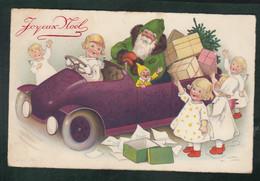 CP - Fant. - Père Noël Distribuant Les Cadeaux En Voiture - Costume Vert - Santa Claus