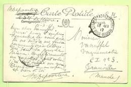 "Kaart LE HAVRE Stempel Ste-ADRESSE / POSTE BELGE 13/7/17 Naar ""Vaguemestre C.I.3 Grauville"" (camp Instruction)(3578 - Esercito Belga"