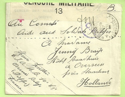 "Brief CERCLE DES ALLIES DIEPPE (Croix-Rouge) Naar ""Comite Soldat Belges"" CENSURE MILITAIRE 13 + Folkestone C.F.  (3436) - Esercito Belga"