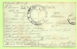 "Kaart FETE DES ZOUAVES Stempel HOPITAL MILITAIRE BELGE BEVEREN S/YSER Naar ""Camp D'Oost-Koch (3455) - Esercito Belga"